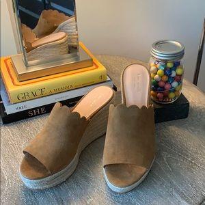 Kate Spade Suede Tabby Wedge Sandals - NWT